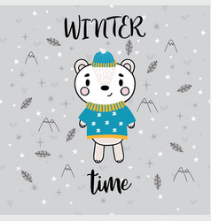 christmas card with cute little bear funny winter vector image