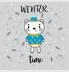 Christmas card with cute little bear funny winter vector