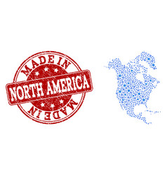 collage map of north america with cog connections vector image