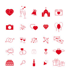 Collection of the wedding red line icons vector