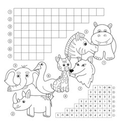 Crossword coloring book page education game for vector