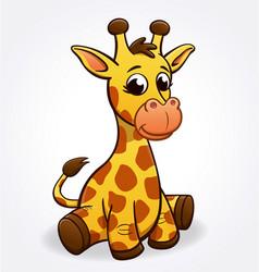 Cute cartoon young infant giraffe sitting vector
