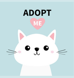 Cute cat face line silhouette adopt me pink vector