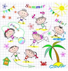 Cute cheerful kids vector