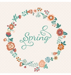 Cute floral wreath in retro style vector image