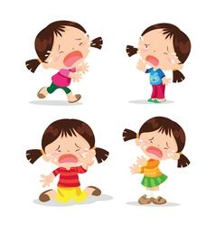 Cute girl crying cartoon vector image