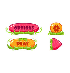 Cute glossy jelly buttons set user interface vector