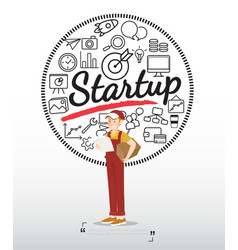 delivery boy character with startup icons on vector image