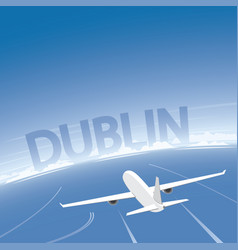 Dublin skyline flight destination vector
