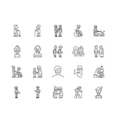 elderly people line icons signs set vector image
