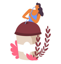 Female character drinking coffee from takeaway vector