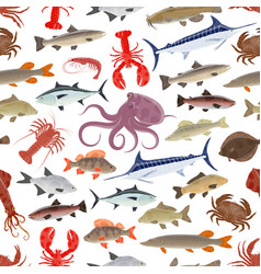 Fish and seafood seamless pattern background vector