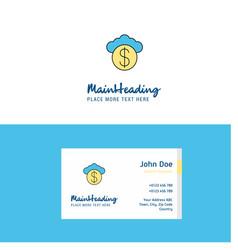 flat cloud dollar logo and visiting card template vector image