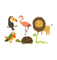 Flat set cute jungle animals and birds vector