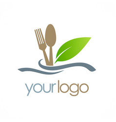 Food spoon organic logo vector