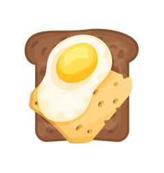 fresh fried egg and slice of cheese on toasted rye vector image