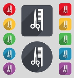 Hair icon sign A set of 12 colored buttons and a vector