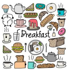 hand drawn doodle breakfast set vector image