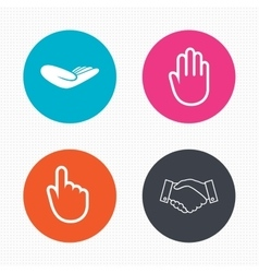 Hand icons Handshake and click here symbols vector image