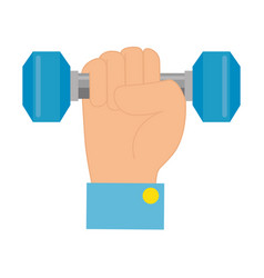 hand with weight lifting gym device vector image