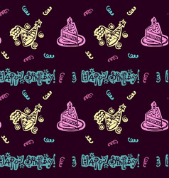 happy birthday hand drawn pattern background vector image