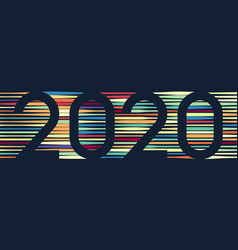 happy new year 2020 colorful line background vector image