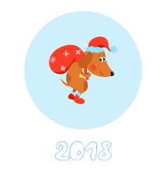 happy new year card with cute dog vector image