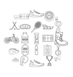 hockey hall icons set outline style vector image