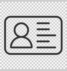 id card icon in flat style identity badge on vector image