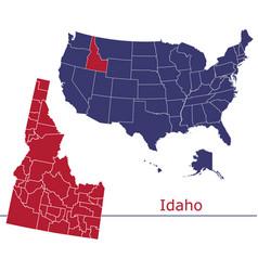 idaho map counties with usa map vector image