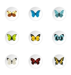Insects butterflies icons set flat style vector