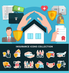 insurance icons collection vector image