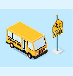 isometric school bus urban infrastructure vector image