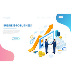 Isometric successful business collaboration vector