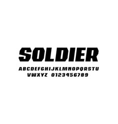 Italic sans serif font in military style vector