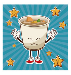 kawaii soup ramen japanese food funny character vector image