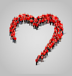 large group people in heart shape vector image