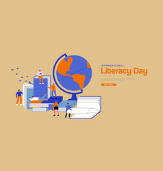Literacy day web template people study teamwork vector