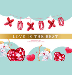 Love frame design with heart cupid watercolor vector