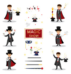magicians with doves playing cards vector image