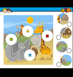 Match pieces game with cartoon animals vector