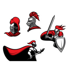 Medieval knights with sword in armour vector