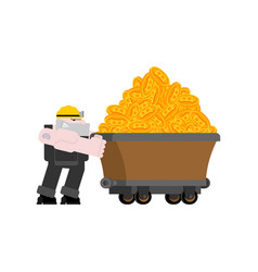 miner and trolley of bitcoins mining extraction vector image