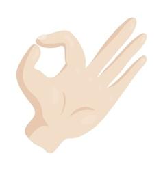 OK hand sign icon cartoon style vector