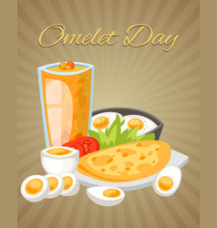 omelet day poster boiled vector image