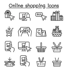 online shopping cyber monday icon set in thin vector image