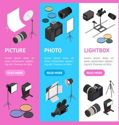 photo studio equipment banner vecrtical set vector image