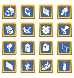 poste service icons set blue square vector image