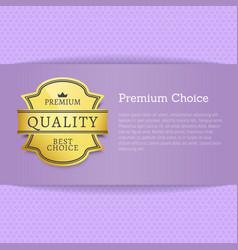 premium best choice exclusive quality golden label vector image