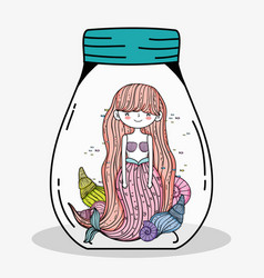 Pretty mermaid woman with shells and fishes inside vector